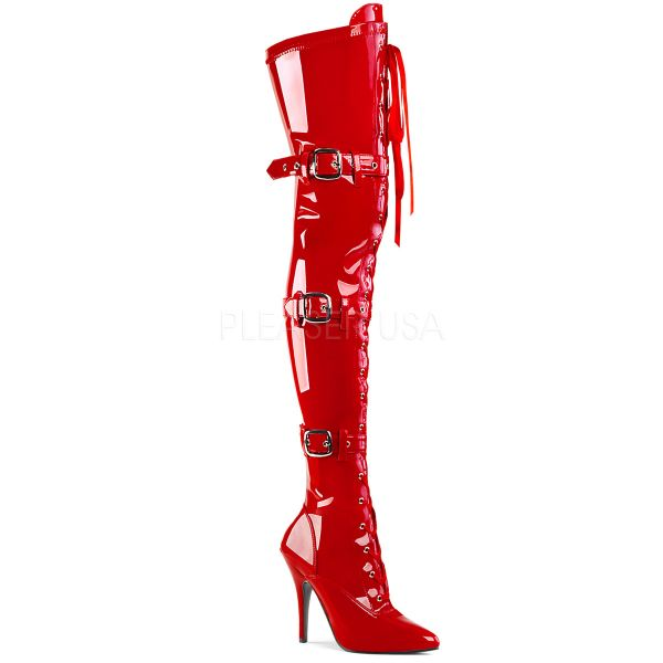 Overknee Stiefel SEDUCE-3028 Lack rot mit Schnürung und Schnallen